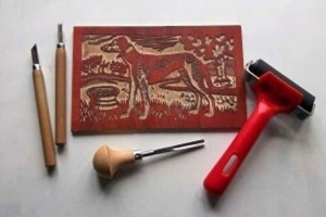 Woodcut block and tools